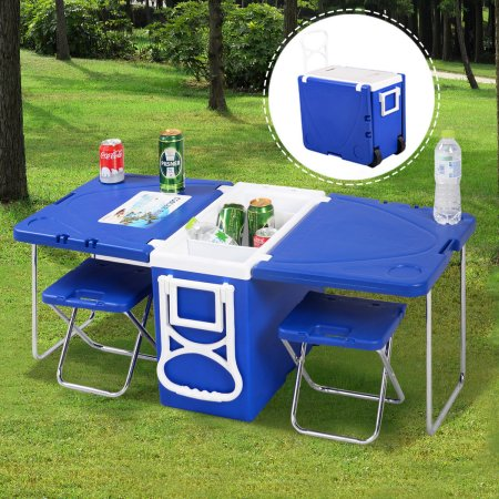Blue Camping Folding Table And Chairs